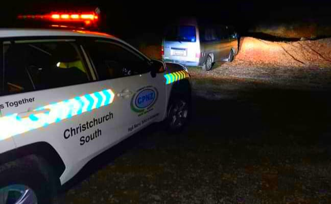 Our patrol car with the stolen van